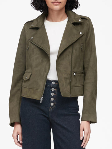 Vegan Suede Moto Jacket in Olive Green