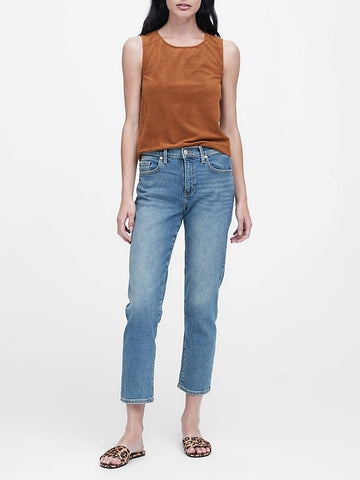 Vegan Suede Cropped Shell in Nutmeg