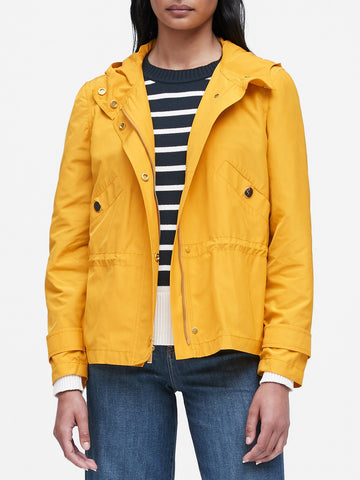 Water-Resistant Anorak Jacket in Yellow With Gold Buttons