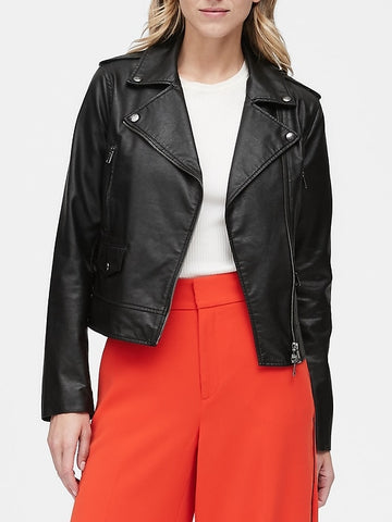 Vegan Leather Moto Jacket in Black