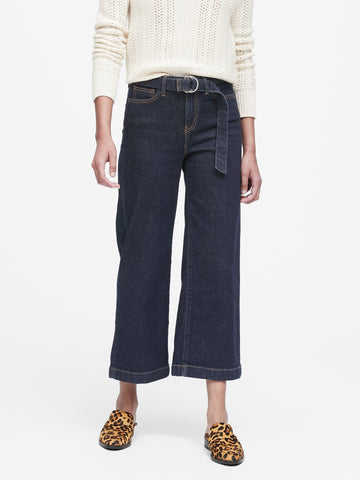 High-Rise Wide-Leg Cropped Jean in Indigo