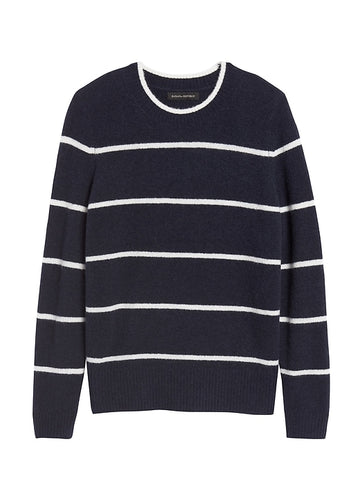 Aire Crew-Neck Sweater in Navy & White Stripe
