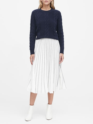 Aire Cable-Knit Sweater in True Navy
