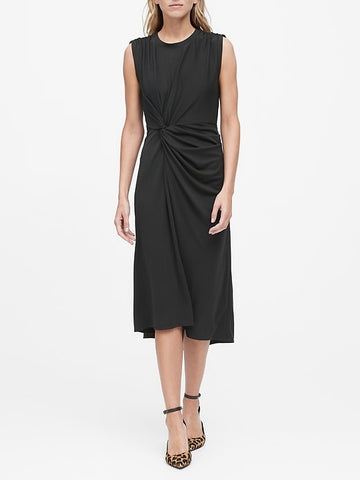 Twist-Front Midi Dress in Fade-Resistant Black