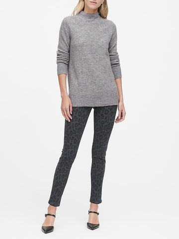 Aire Mock-Neck Sweater Tunic in Heather Gray