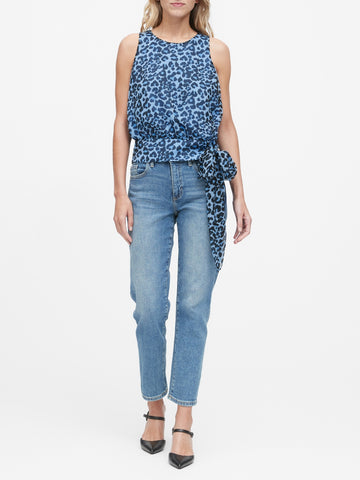 Leopard Tie-Hem Top in Blue Leopard