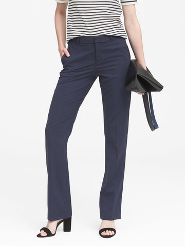 Logan Trouser-Fit Wool-Blend Pant in Navy