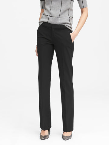 Logan Trouser-Fit Wool-Blend Pant in Black