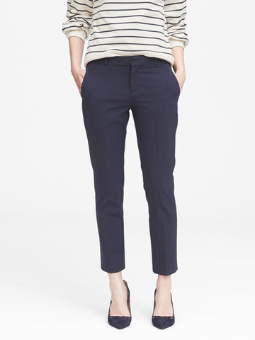 Avery Straight-Fit Wool-Blend Ankle Pant in Navy