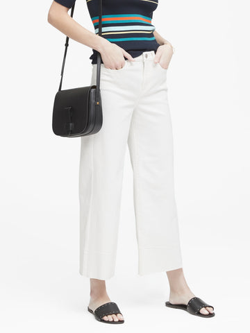 High-Rise Wide-Leg Cropped Jean with Raw Hem in White