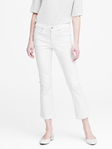 Mid-Rise Crop Flare Jean in White