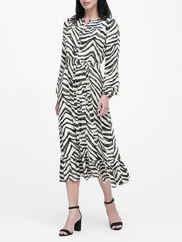 Print Midi Shirt Dress in Zebra Print