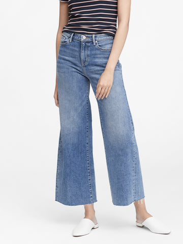 High-Rise Wide-Leg Cropped Jean in Vintage Blue