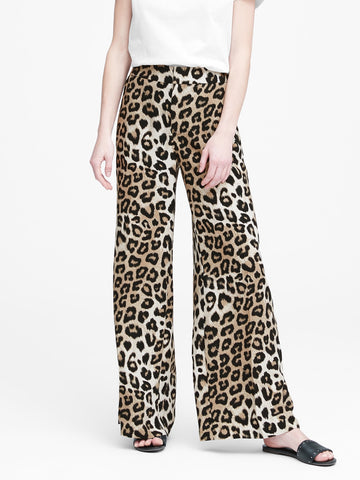 High-Rise Wide-Leg Pant in Leopard Print
