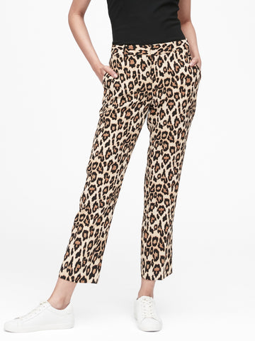 Avery Straight-Fit Leopard Ankle Pant in Leopard Print