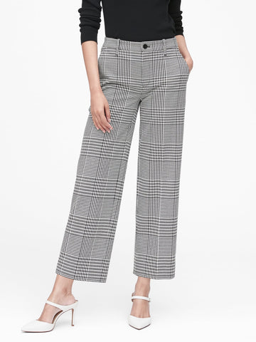 Slim Wide-Leg Cropped Pant in Black & White Houndstooth
