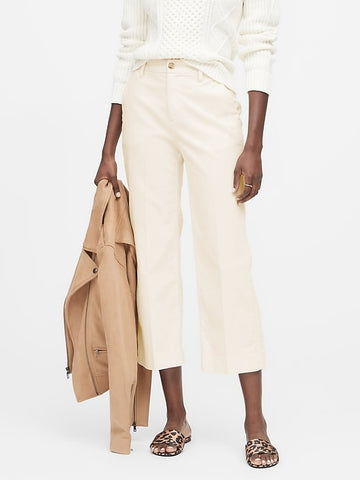 Slim Wide-Leg Corduroy Cropped Pant in Warm White