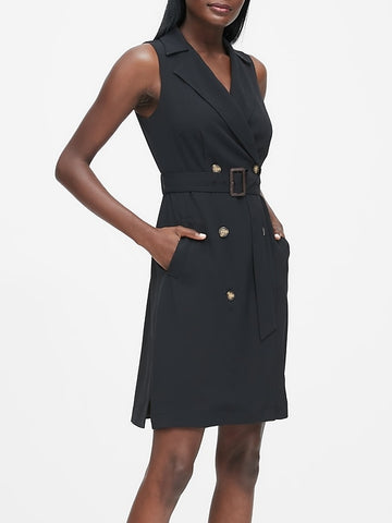 Double-Breasted Trench Dress in Black