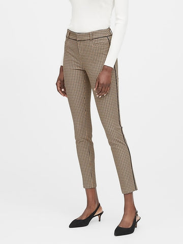 Modern Sloan Skinny-Fit Pant with Piping in Dark Brown Check