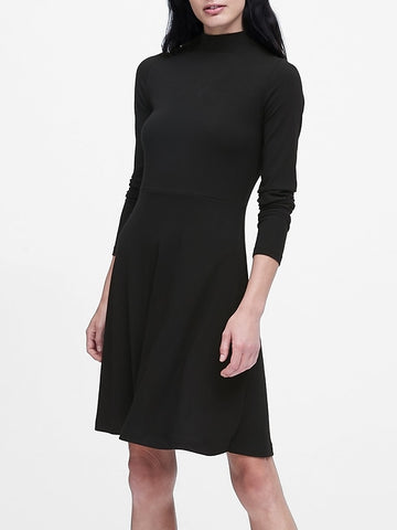 Ribbed Mock-Neck Mini Dress in Black