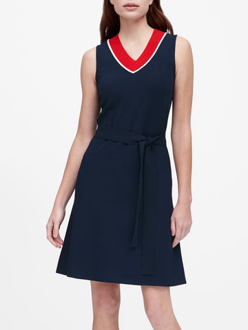 Belted Sweater Dress in Navy