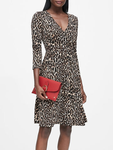 Print Jersey Wrap Dress in Leopard Print