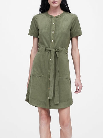 Vegan Suede Shirt Dress in Sage Green