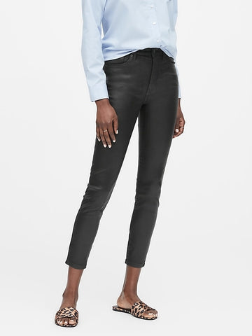 High-Rise Skinny Coated Jean in Black