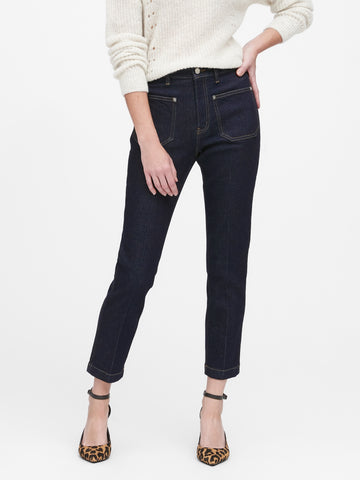 High-Rise Straight-Fit Patch Pocket Jean in Rinse Dark Wash
