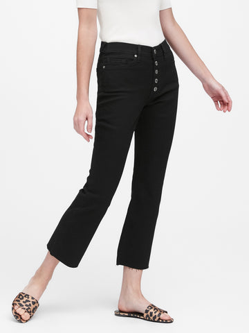 Mid-Rise Crop Flare Jean in Black