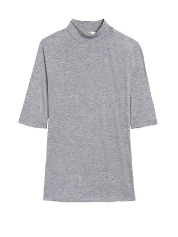 Rayon-Wool Mock-Neck T-Shirt in Light Gray