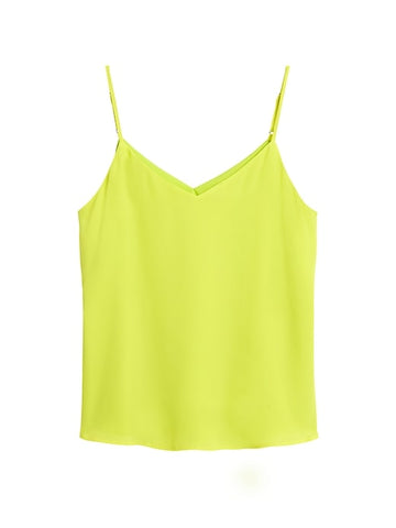Solid Strappy Camisole in Neon Yellow-Green
