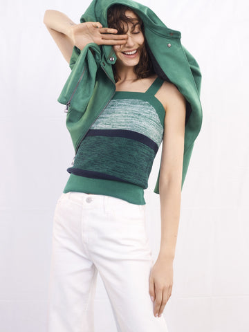 Square-Neck Sweater Tank in Green & Blue
