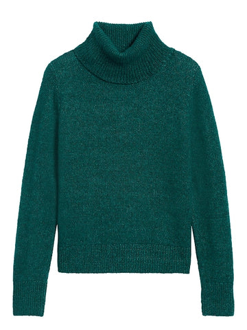 Merino-Blend Turtleneck Sweater in Glen Green