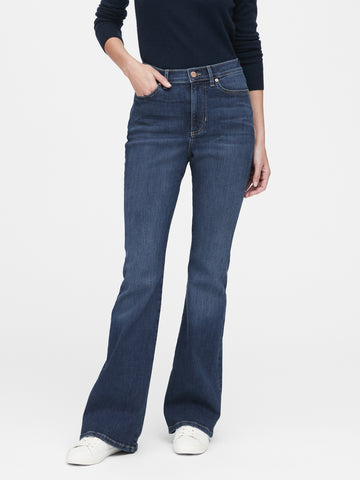 High-Rise Flare Jean in Dark Indigo