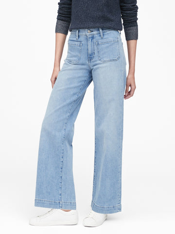 High-Rise Wide-Leg Patch Pocket Jean in Light Wash