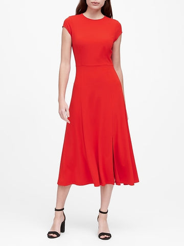 Soft Ponte Midi Dress with Slit in Ultra Red