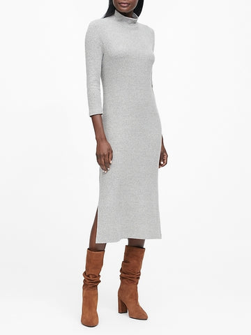 Luxespun Turtleneck Dress in Heather Gray