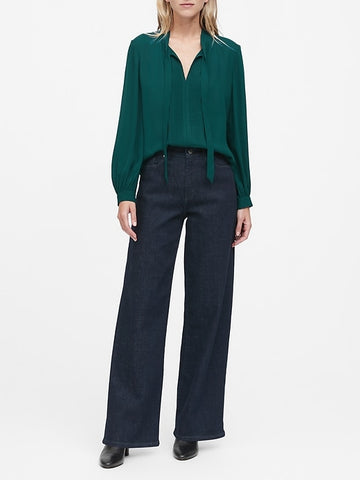 Tie-Neck Tuxedo Blouse in Glen Green