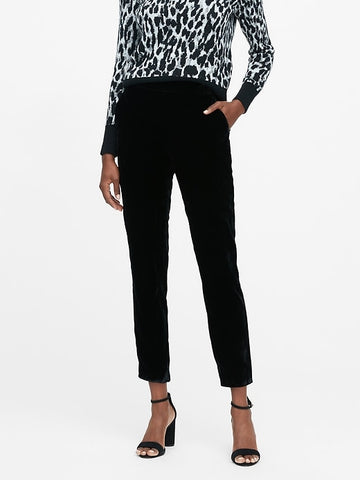Hayden Tapered-Fit Velvet Ankle Pant in Black