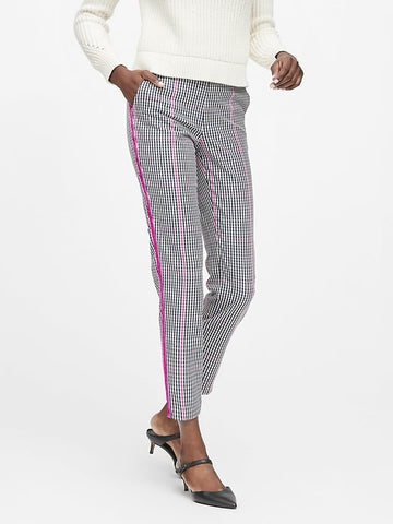 Hayden Tapered-Fit Plaid Ankle Pant in Navy & Fuchsia Plaid