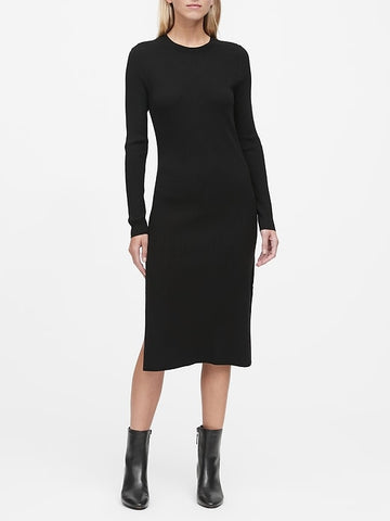 Ribbed Sweater Dress in Black