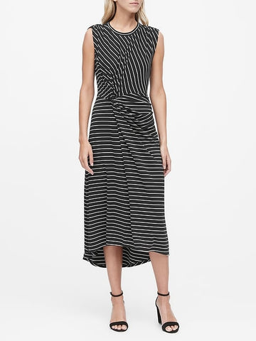 Stripe Twist-Front Midi Dress in Black & White Stripe