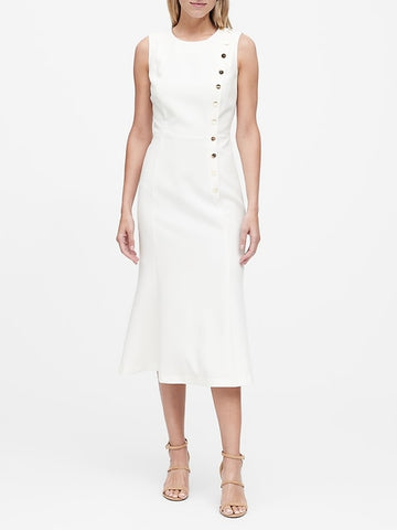 Buttoned Midi Dress in Warm White With Gold Buttons