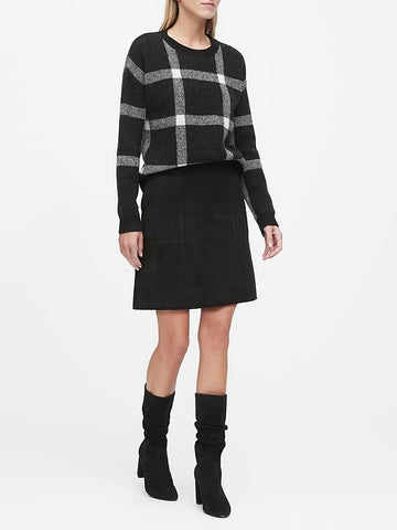Aire Plaid Sweater in Black & White Plaid