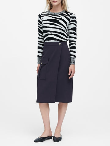 Utility Wrap Skirt in Navy