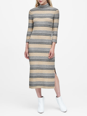 Stripe Luxespun Turtleneck Dress in Champagne & Gray Stripe
