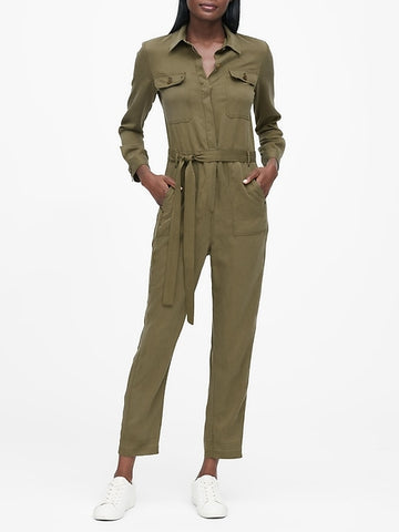 TENCEL Flight Jumpsuit in Olive Green