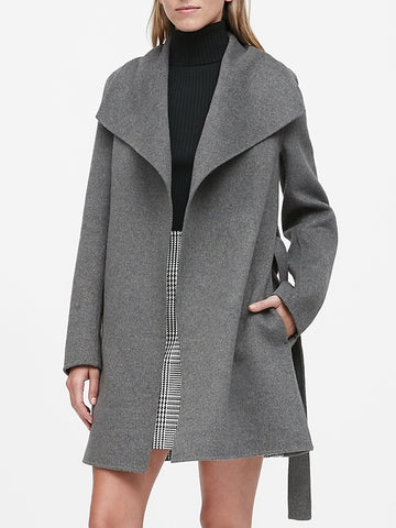 Double-Faced Wrap Coat in Charcoal Gray