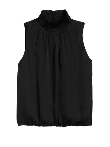 High-Neck Blouse in Black